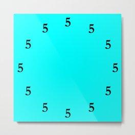 Black Five o'Clock Somewhere on Aqua Blue Metal Print
