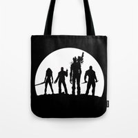 guardians of the galaxy Tote Bags featuring Guardians of the Galaxy by Comix