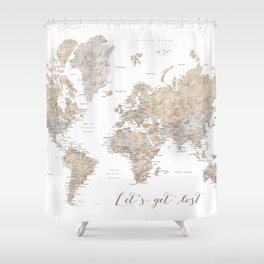 Let's get lost world map with cities in neutral watercolor Shower Curtain