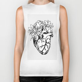 Floral Mexican Heart - black and white Biker Tank