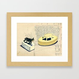 Vintage Pig and Dog Celluloid Boxes in Gouache Framed Art Print