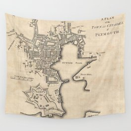 Vintage Map of Plymouth England (1765) Wall Tapestry
