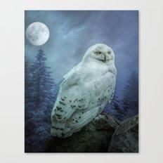 Moonlit Snowy Owl Canvas Print