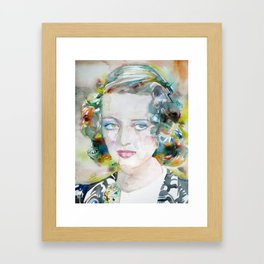 BETTE DAVIS watercolor portrait.1 Framed Art Print