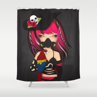 pirate Shower Curtains featuring pirate by Anne  Martwijit