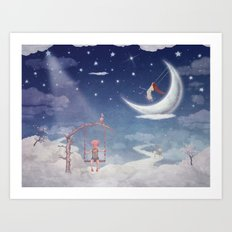 City of children on  fantastic clouds in the sky Art Print