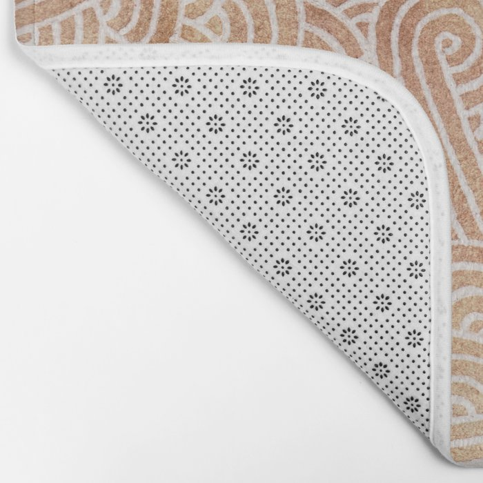 Iced coffee and white swirls doodles Bath Mat