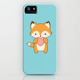 Kawaii Cute Fox With Hearts iPhone Case