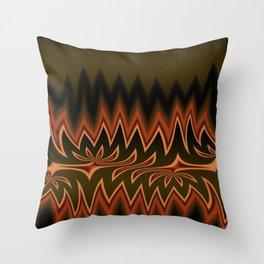Fractal Tribal Art in Autumn Throw Pillow