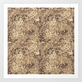 Camouflage khaki texture army fabric seamless forest sand camo netting pattern textures  Art Print