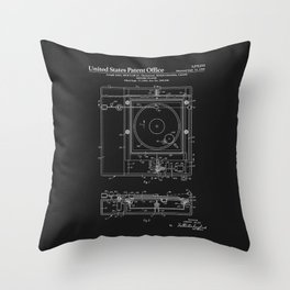 Record Player Patent - Black Throw Pillow