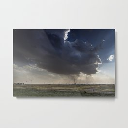 A massive cloud presages a thunderstorm above Groom a tiny community along old US Route 66 in the Te Metal Print