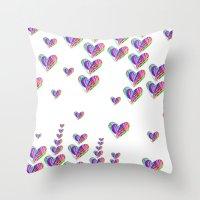 tetris Throw Pillows featuring Love Tetris by Len Tierra