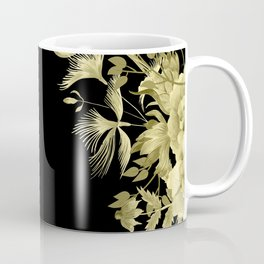 Stardust Black and Gold Floral Motif Coffee Mug