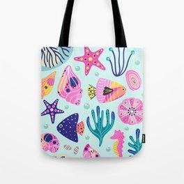 Seashells Seahorses Starfish Beach Tote Bag