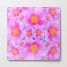 Fuchsia Pink Clustered Rose Garden Art Metal Print