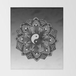 Yin and Yang Mandala (Black & White) Throw Blanket
