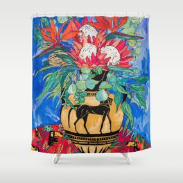 Tropical Protea Bouquet with Toucans in Greek Horse Urn on Ultramarine Blue Shower Curtain