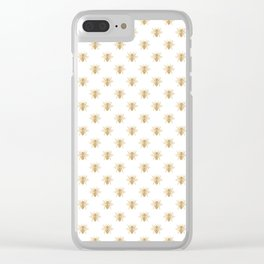 Gold Metallic Faux Foil Photo-Effect Bees on White Clear iPhone Case