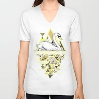 swan V-neck T-shirts featuring Swan by Wendy Ding