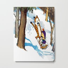 calvin and hobbes happy snow Metal Print
