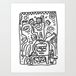 Cool Funny Graffiti Characters in Black and White by Emmanuel Signorino Art Print