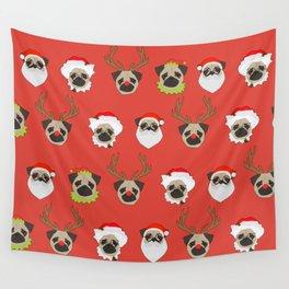 Xmas Pugs Wall Tapestry