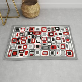 Mid Century Modern Squares and Rectangles // Red, Gray Black, White Rug