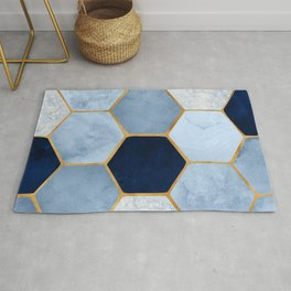 Deco Blue Marble II with Metallic Gold Accents Rug