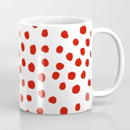 Christmas dots painted minimalist dotted pattern holiday red and white Coffee Mug