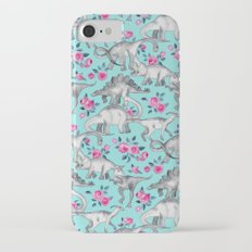 Dinosaurs and Roses - turquoise blue iPhone 7 Slim Case