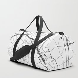 Paris France Minimal Street Map - Gray and White Duffle Bag