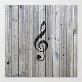 Vintage black music note Treble Clef gray wood Canvas Print