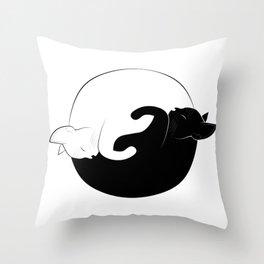 ying yang cats Throw Pillow