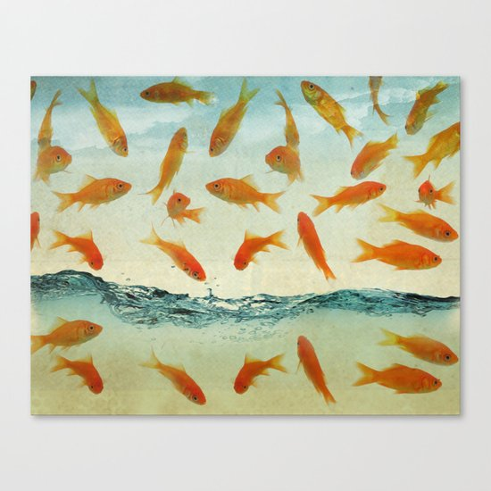 raining gold fish Canvas Print