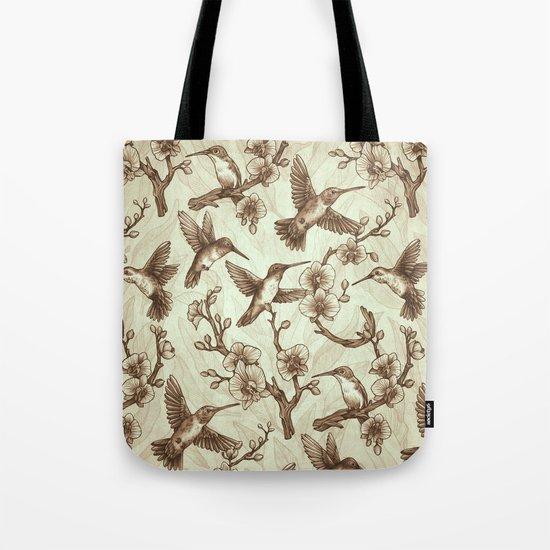 Sepia Hummingbird Pattern Tote Bag