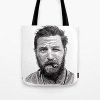 tom selleck Tote Bags featuring Tom by Rik Reimert