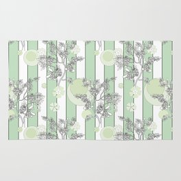 Mint color striped pattern . Rug