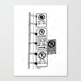 Montréal - Parking Hell - Black Canvas Print