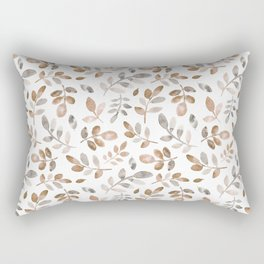 Watercolor brown fall autumn leaves floral Rectangular Pillow