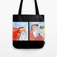 santa Tote Bags featuring Santa by Bakal Evgeny