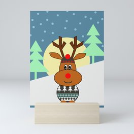 Reindeer in snow Mini Art Print