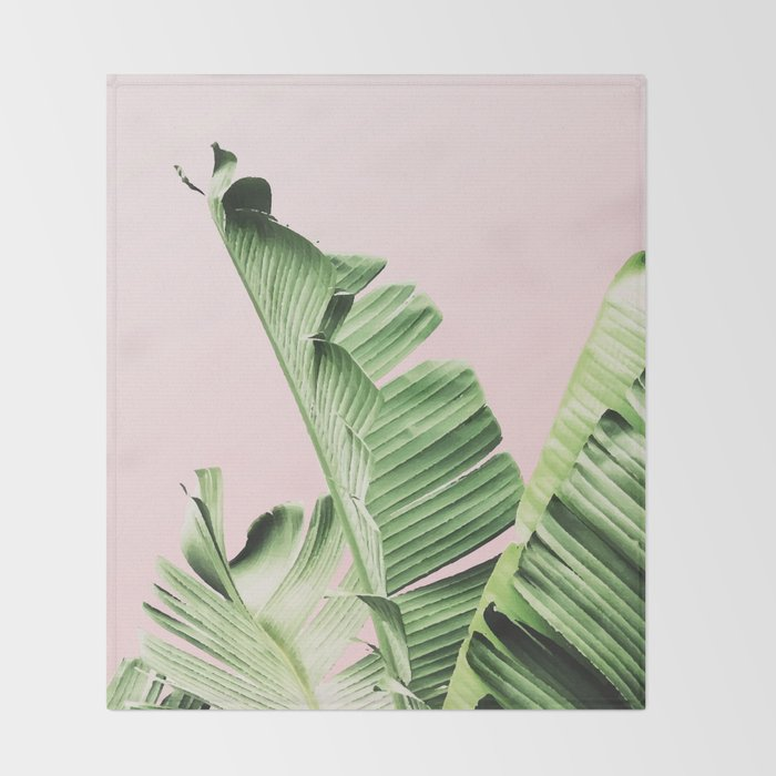 Banana Leaf on pink Throw Blanket