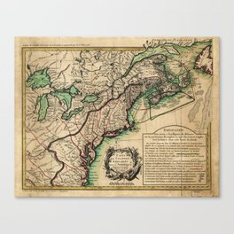 Map of the East Coast of America (1756) Canvas Print