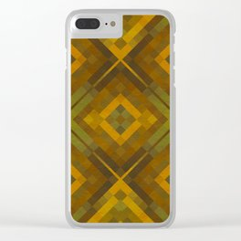 twyla - gold green brown textured geometric pattern Clear iPhone Case