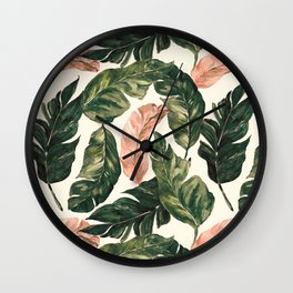 Leaf green and pink Wall Clock