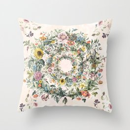 Circle of life- floral Throw Pillow