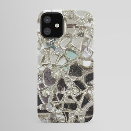 An Explosion of Sparkly Silver Glitter, Glass and Mirror iPhone Case