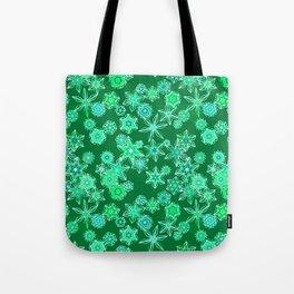 Modern Geometric Snowflakes, Emerald Green Tote Bag