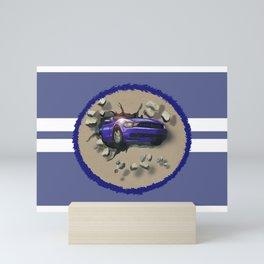 Blue Car Smashing Through Wall Mini Art Print
